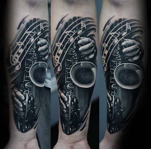 0fa592a8a 50 Saxophone Tattoo Designs For Men - Jazz Inspired Ink Ideas