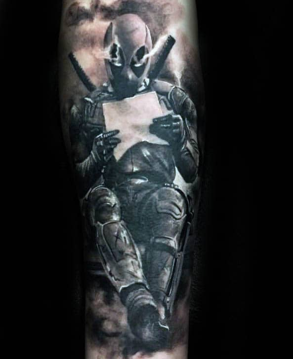 3d Realistic Shaded Deadpool Forearm Sleeve Tattoos For Gentlemen