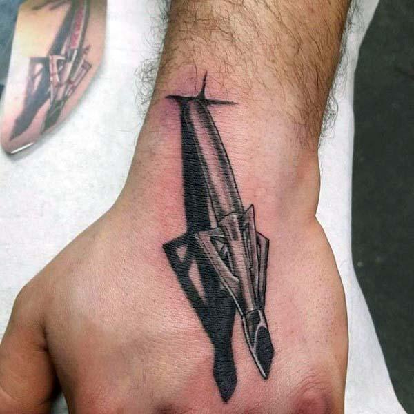 3d Realistic Sharp Arrow Wrist And Hand Male Tattoos