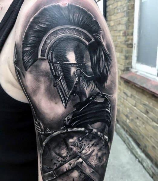 3d Realistic Shield Spartan Mens Half Sleeve Tattoo