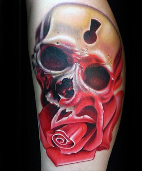 3d Realistic Skull And Rose Flower Mens Keyhole Arm Tattoos