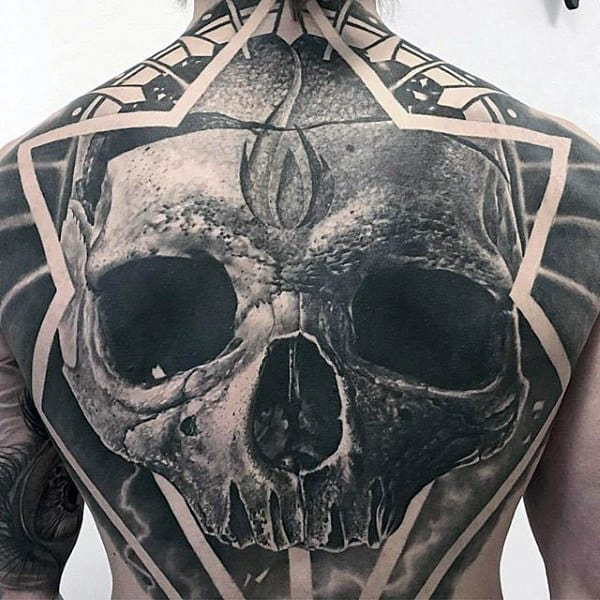 3d Realistic Skull Black Ink Male Full Back Tattoo