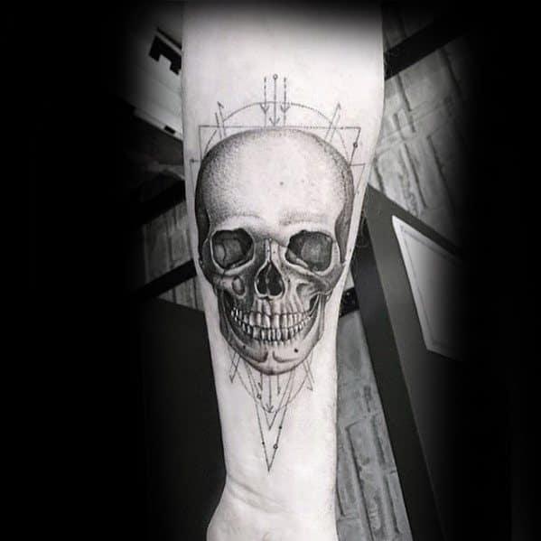 3d Realistic Skull Geometric Forearm Male Tattoos