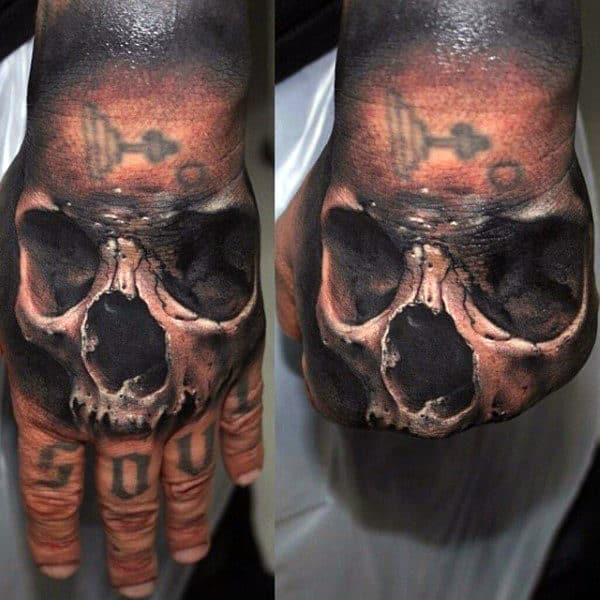 3d Realistic Skull Hand Tattoos For Guys