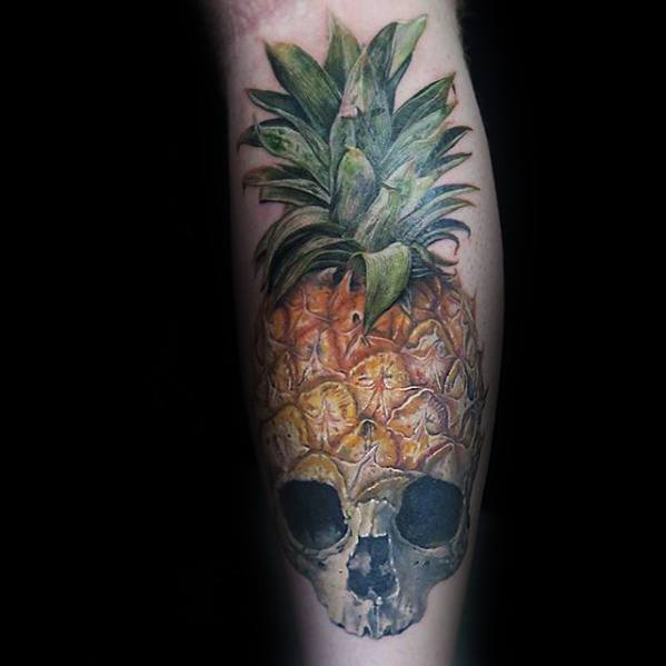 3d Realistic Skull Leg Masculine Pineapple Tattoos For Men