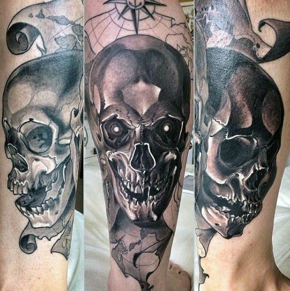 3d Realistic Skull Map Tattoo For Men