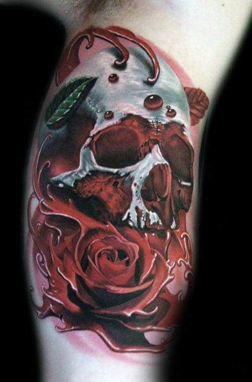 3d Realistic Skull Mens Inner Arm Bicep Rose Tattoos