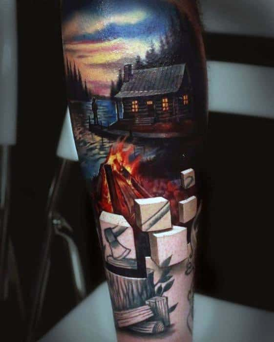 3d Realistic Sleeve Lake Guys Tattoo Designs