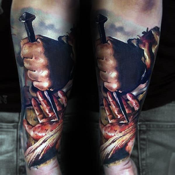 3d Realistic Spike Through Hand Guys Jesus Forearm Sleeve Tattoo