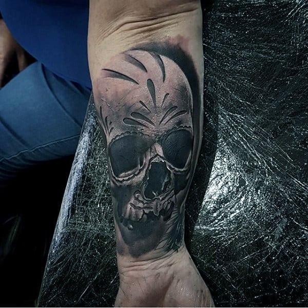 3d Realistic Sugar Skull Tattoo Black And Grey For Gentlemen On Wrist