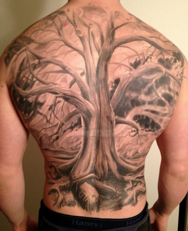 3d Realistic Tree Without Leaves Male Back Tattoos