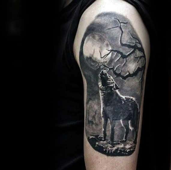 3d Realistic Wolf Howling At Moon Guys Arm Tattoo Designs