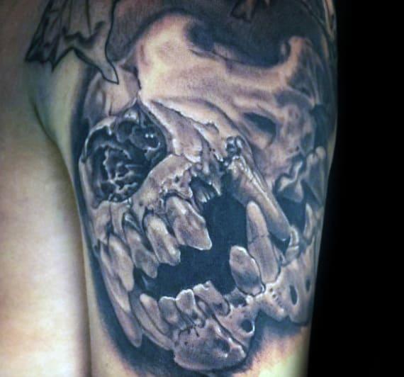 3d Realistic Wolf Skull Mens Arm Tattoos