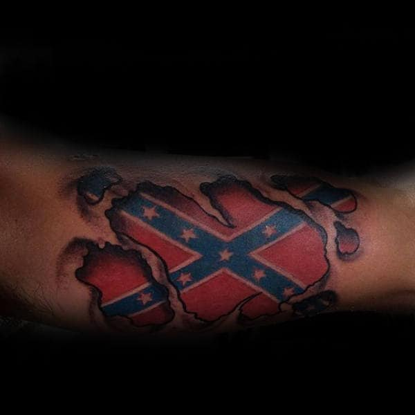 30 Rebel Flag Tattoos For Men - American Revelry Design Ideas