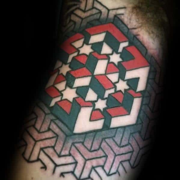 3d Red And Black Ink Geometric Arm Tattoo Design Ideas For Males