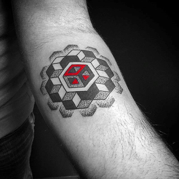 3d Red And Grey Ink Geometric Forearm Tattoo Ideas On Guys