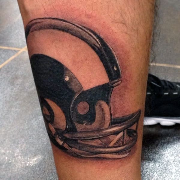 3d Reflective Guys Football Helmet Tattoo On Leg
