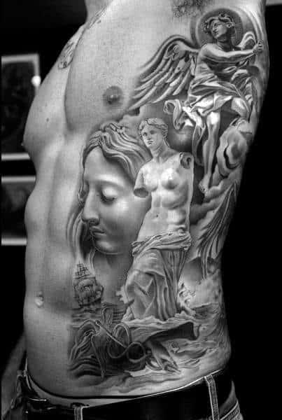 3d Rib Cage Side Of Body Male Roman Statue Tattoo Designs