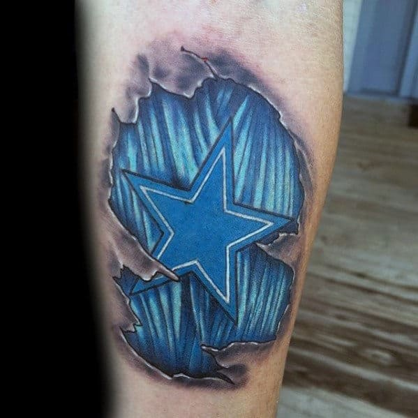 3d Ripped Skin Blue Star Mens Dallas Cowboys Leg Tattoo