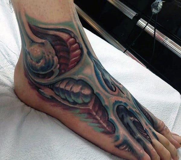 3d Ripped Skin Foot Tattoo For Guys