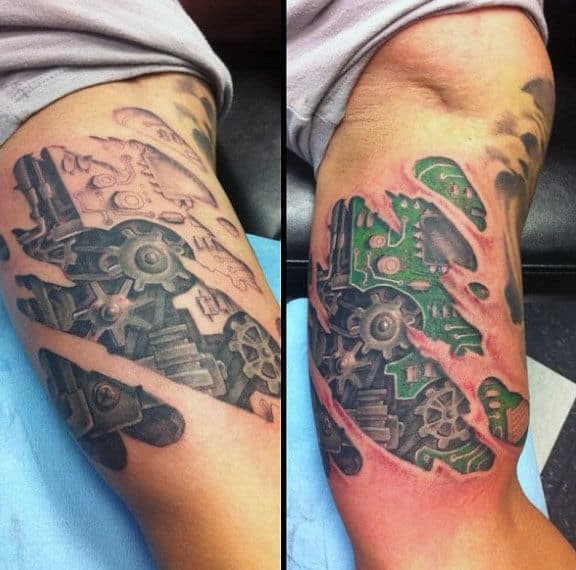 3d Ripped Skin Guys Circuit Board Tattoos