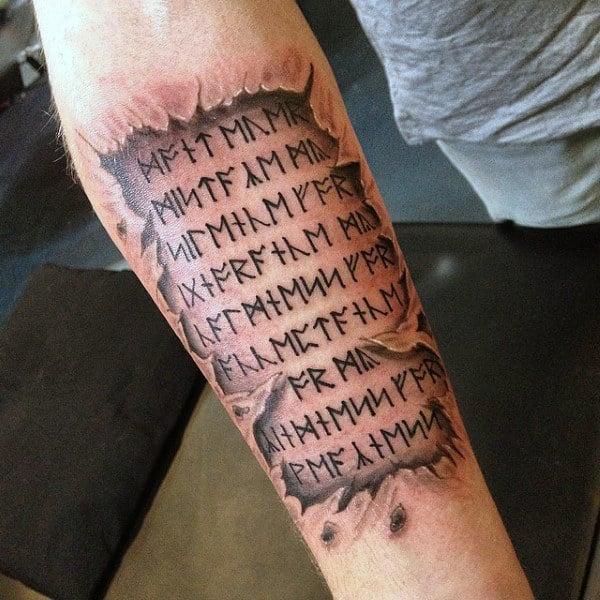 3d Ripped Skin Mens Celtic Rune Tattoos On Inner Forearm