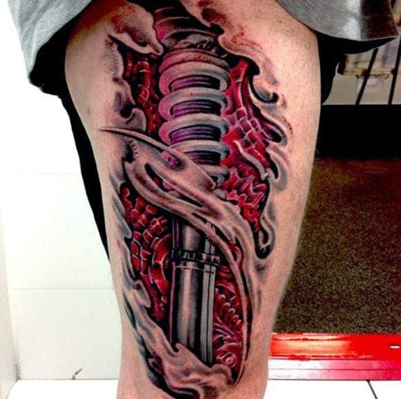 3d-ripped-skin-shock-thigh-tattoo-for-men