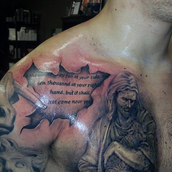 3d Ripped Skin Shoulder Tattoo Scripture For Guys With Jesus Christ On Chest