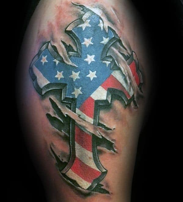 3d Ripped Skin Unique Arm American Flag Cross Mens Tattoos