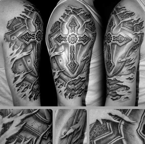3d Ripped Skin With Celtic Cross Mens Badass Arm Tattoo Ideas