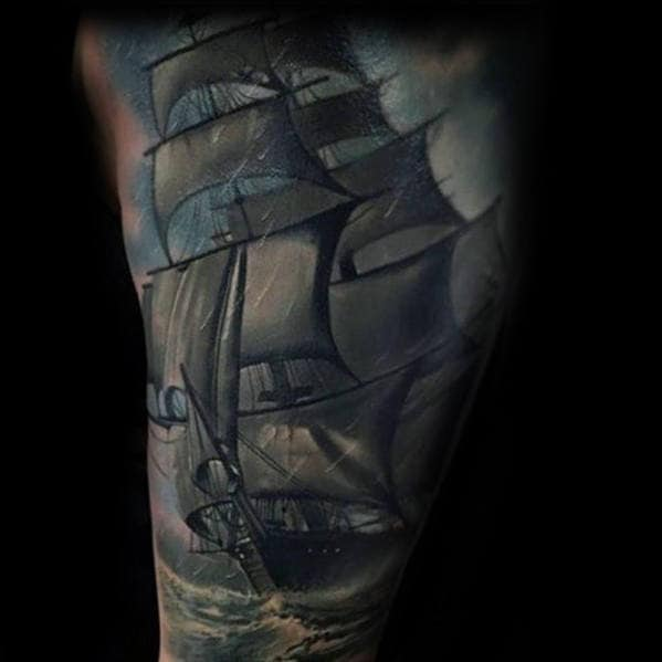 3d Sailing Ship At Sea Mens Arm Tattoo