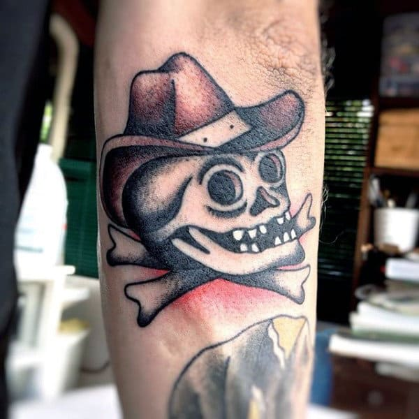 3d Sailor Jerry Skull And Crossbones Cowboy Tattoo For Guys