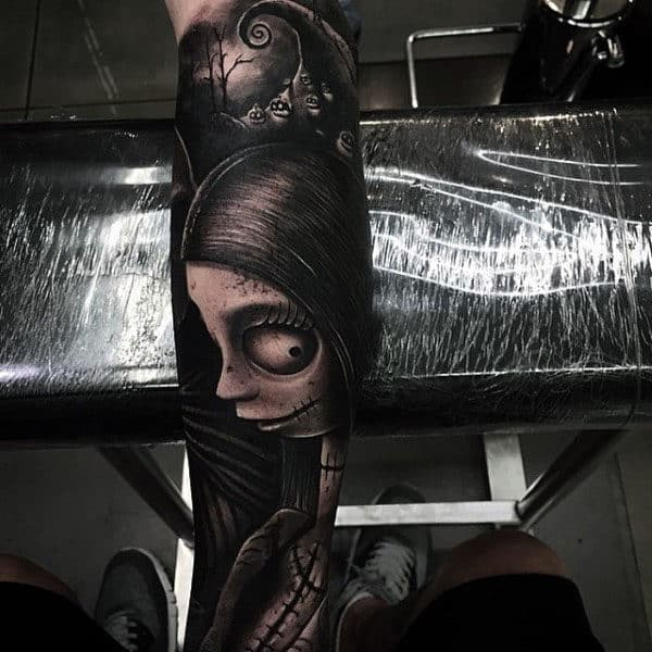 3d Sally Night Before Christmas Mens Black Ink Shaded Sleeve Tattoos