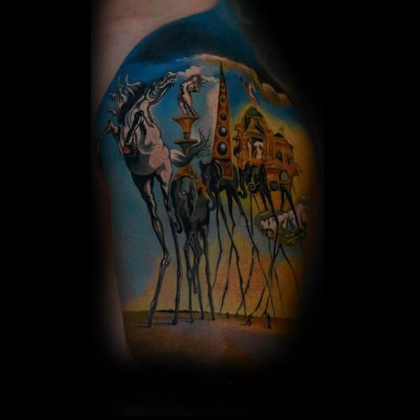 3d Salvador Dali Elephant Guys Tattoo Ideas