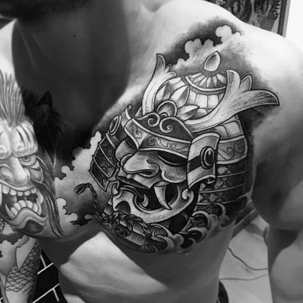 3d Samuari Helmet Guys Upper Chest Shaded Tatotos