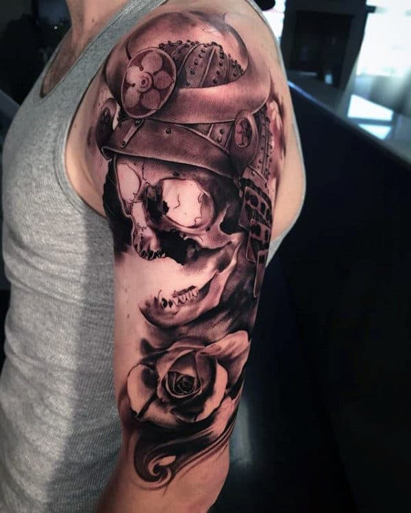 3d Samurai Helmet Skull Mens Half Sleeve Tattoo With Shaded Ink