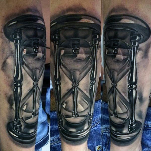 3d Sands Of Time Hourglass Tattoos For Men On Forearm