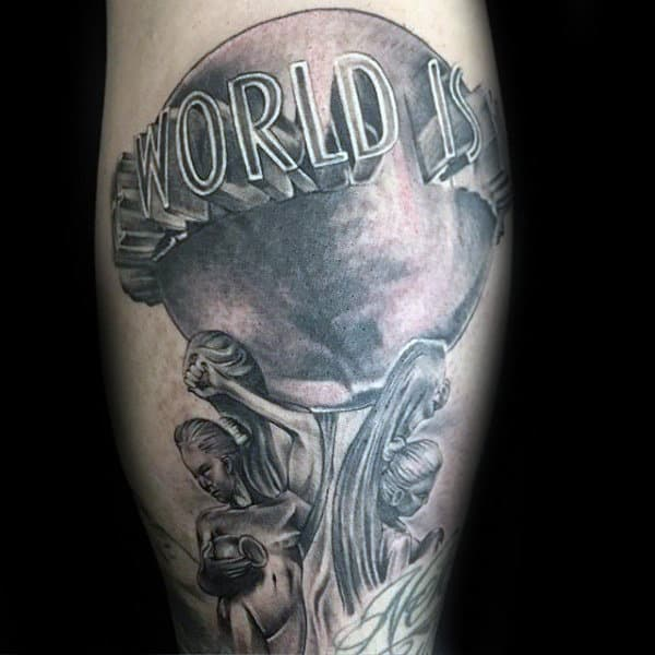 3d Scarface The World Is Yours Mens Leg Tattoo