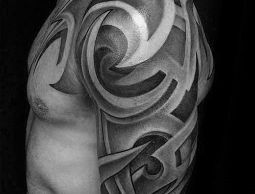 3d Shaded Black And Grey Sick Tribal Half Sleeve Tattoos For Men