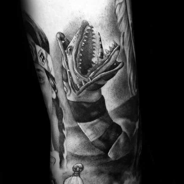 3d Shaded Black And Grey Snakeworm Beetlejuice Movie Mens Tattoo On Arm