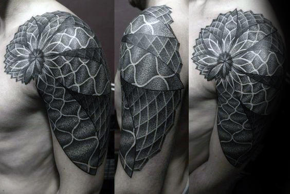 3d Shaded Fibonacci Spiral Mens Shoulder And Arm Tattoo