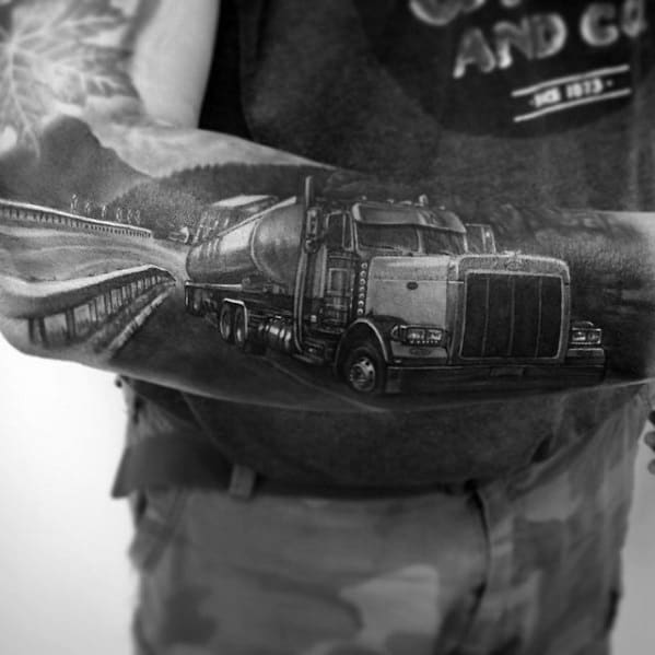3d Shaded Realistic Big Rig Truck Sleeve For Men
