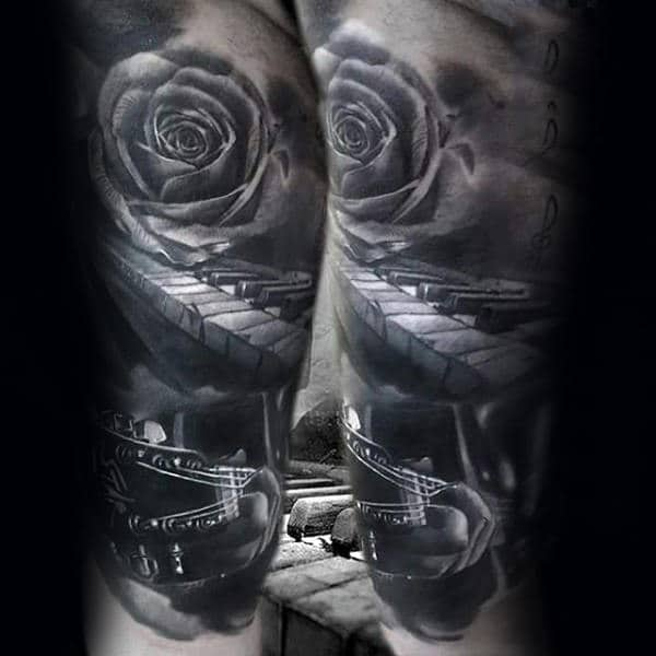 3d Shaded Realistic Male Music Sleeve Tattoo Inspiration