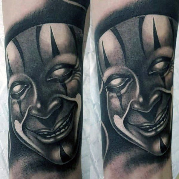 3d Shaded White And Grey Ink Drama Mask Tattoos Guys On Forearm