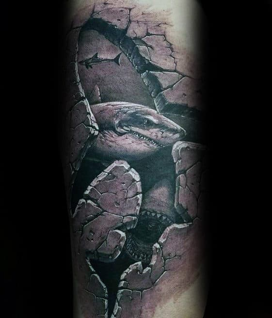 3d Shark Stone Guys Forearm Tattoo
