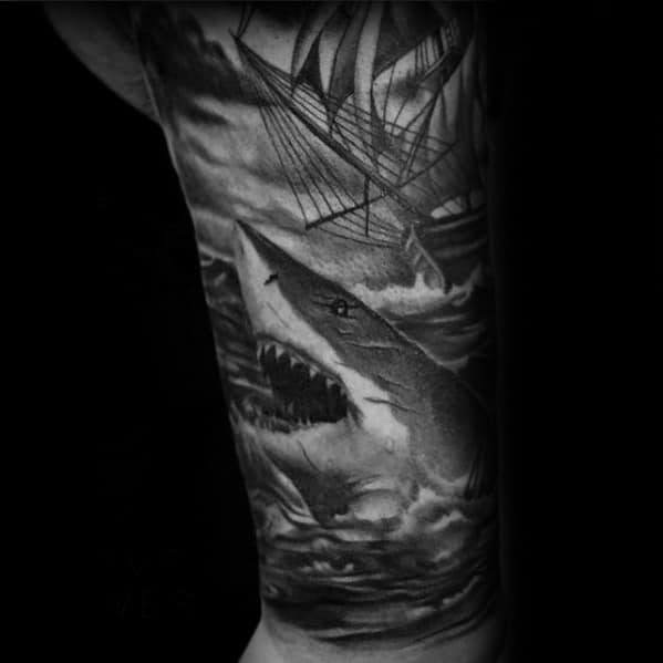 3d Shark With Sailing Ship Guys Shaded Sleeve Tattoo Design