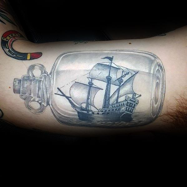 3d Ship In A Bottle Unique Mens Inner Arm Bicep Tattoos