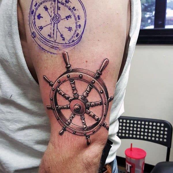 3d Ship Wheel Nautical Upper Arm Tattoos For Men