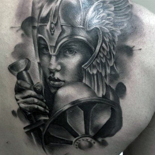 3d Shoulder Blade Valkyrie Tattoo Ideas For Males