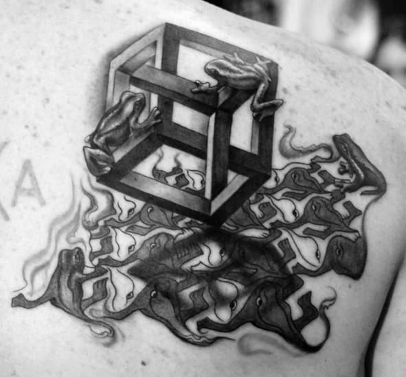 3d Shoulder Mc Escher Tattoos For Gentlemen